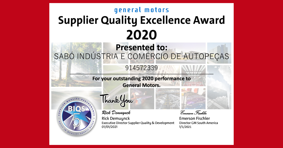 SABÓ recebe pela 7ª vez prêmio da General Motors por excelência na qualidade