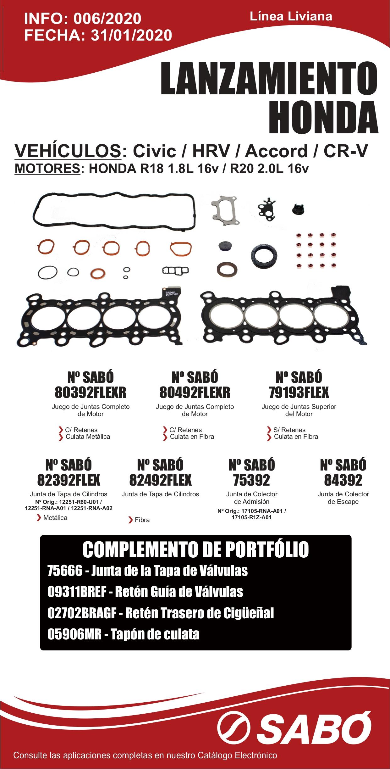 Info 006 Lanzamiento Honda Civic HRV Motor R18 R20 1.8L 16V 2.0L 16V Linea Liviana_page-0001