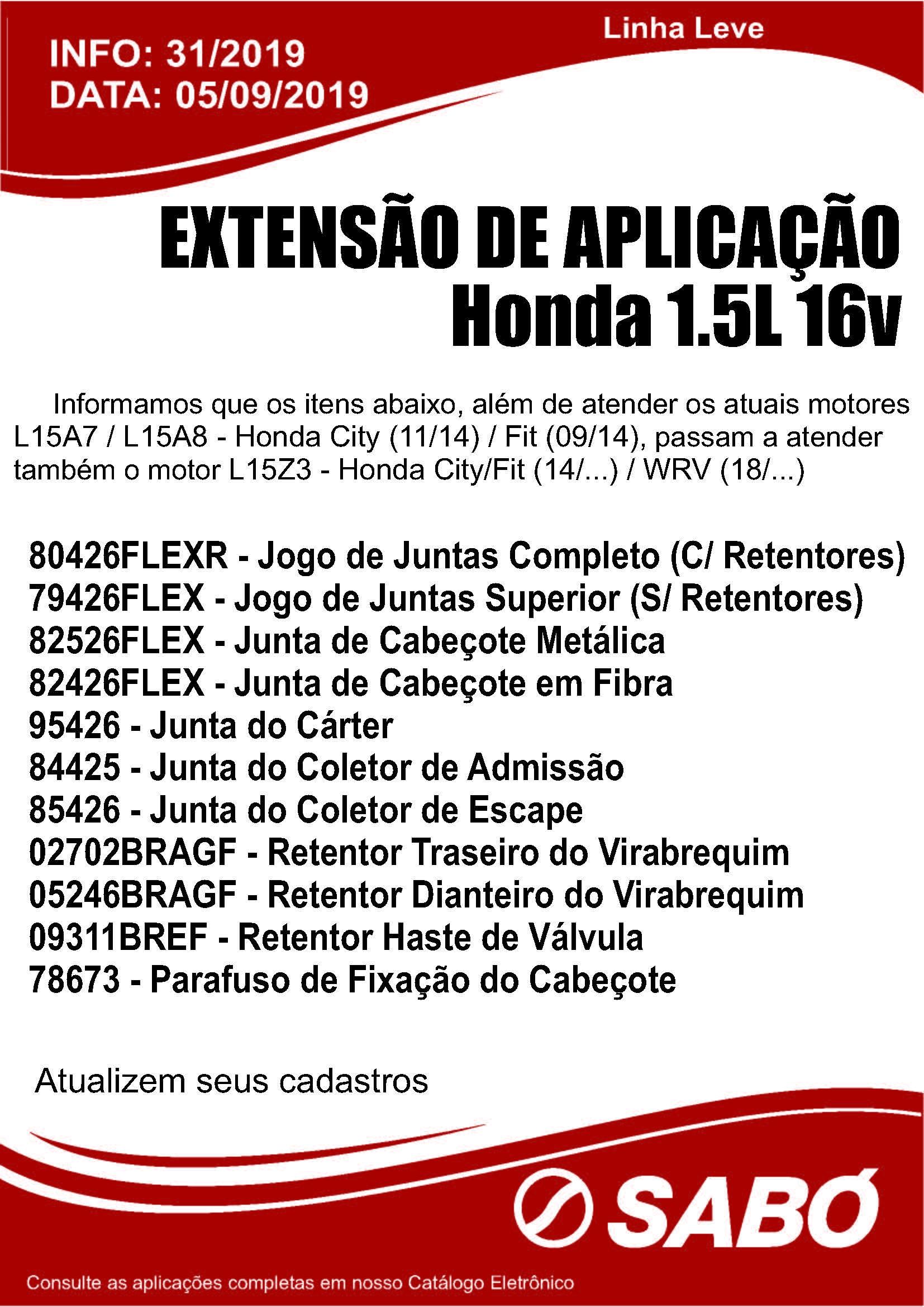 Info 031 - Extensao de Aplicacao Honda 1.5L 16v